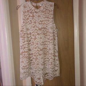 Sleeveless lace high low blouse